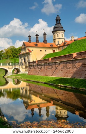 View of medieval castle near Nesvizh town of Belarus Republic - stock photo