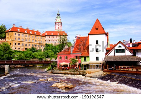 View of medieval Cesky Krumlov with castle, Czech Republic - stock photo