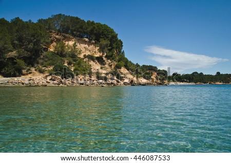 View of mediterranean sea coastline  - stock photo