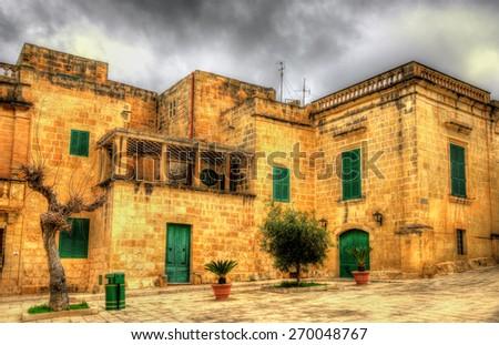 View of Mesquita Square in Mdina - Malta - stock photo