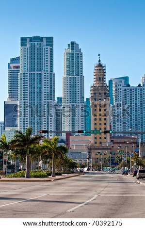 View of Miami, Biscayne Avenue and Downtown Skyscrapers. - stock photo