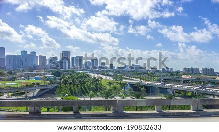 View of Miami skyline - stock photo