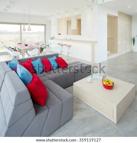 View of modern interior with color elements - stock photo