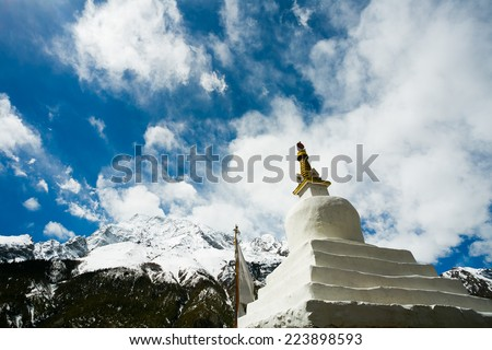 View of monastery in Himalaya mountains, Braka, Nepal. Braka village is a part of Annapurna circuit trek, one of the most popular adventure circuit trek in the world. - stock photo
