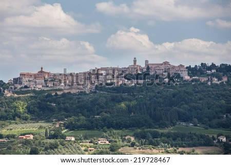 view of Montepulciano in Tuscany - stock photo