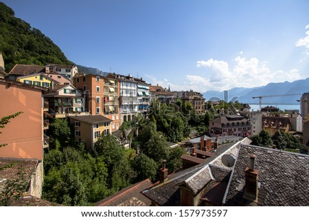 View of Montreux, Switzerland - stock photo