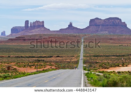View of Monument Valley an  Highway 163  in Utah - stock photo