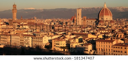view of monumental city of  Florence seen from Piazzale, Unesco heritage site, Tuscany, Italy, Europe - stock photo