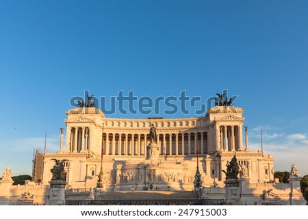 View of Monumento nazionale a Vittorio Emanuele II in Rome, Italy at sunset - stock photo