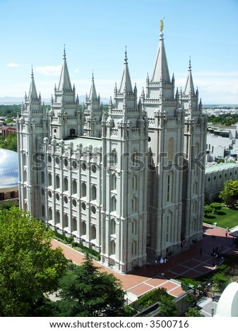 view of Mormon Temple in Salt Lake City Utah, USA on a spring day - stock photo