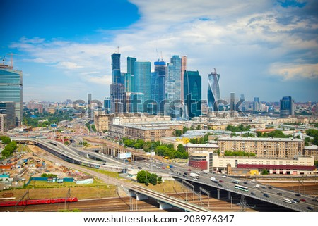View of Moscow and a business center Moscow-City, highways - stock photo