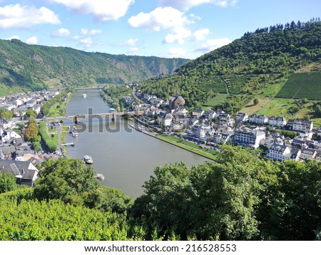 view of Moselle river, vineyards, Cochem town in Germany - stock photo
