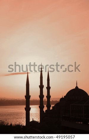 View of mosque by night - stock photo