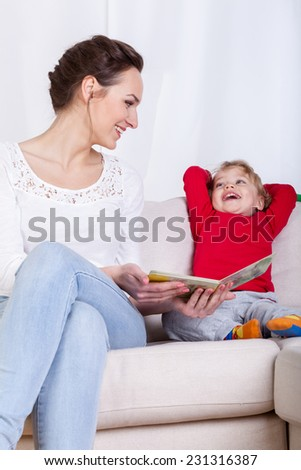 View of mother spending time with child - stock photo