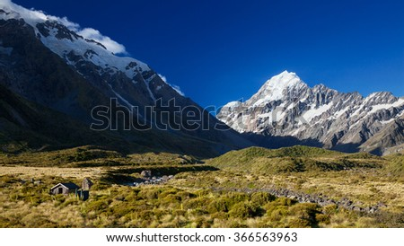 View of Mount Cook from Hooker Valley, South Island, New Zealand - stock photo