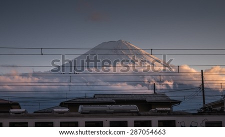 view of mount fuji from kawaguchiko train station in march 2013 - stock photo