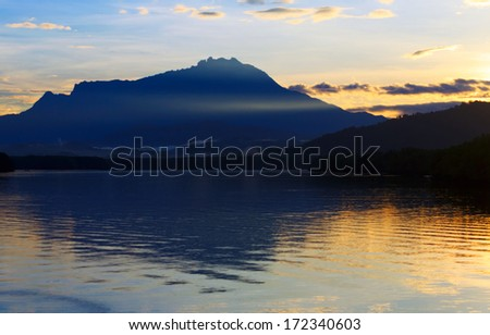 View of mount Kinabalu at sunrise in Sabah, Borneo, Malaysia - stock photo