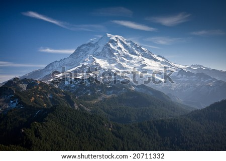 View of Mount Rainier from a distance - stock photo