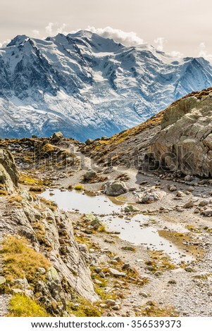 View Of Mountain Range With Mont Blanc From Lac Blanc-Mont Blanc Area, France - stock photo