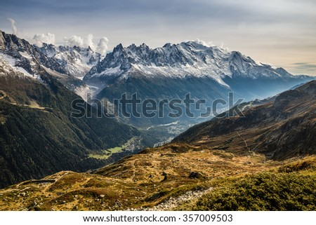 View Of Mountain Range With Mont Blanc-Mont Blanc Area, France - stock photo