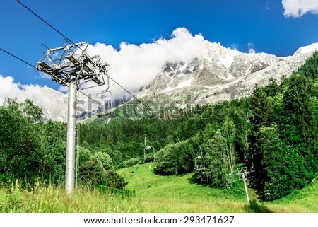 View of mountain tops in the alps of Mont Blanc, near Chamonix, France. - stock photo