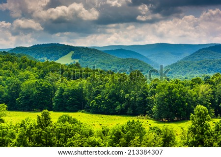 View of mountains in the Potomac Highlands of West Virginia. - stock photo