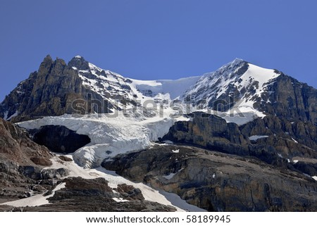 View of Mt. Athabasca in the Canadian Rockies - stock photo