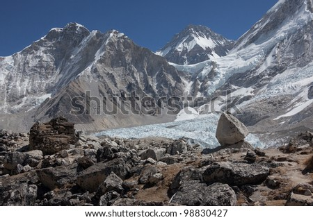 View of Mt. Everest and Khumbu glacier - Nepal - stock photo