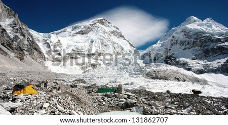 view of Mt Everest base camp - stock photo