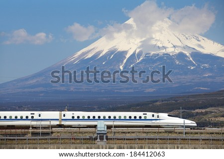 View of Mt Fuji and Tokaido Shinkansen, Shizuoka, Japan  - stock photo