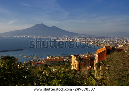 View of Naples and Vesuvius - stock photo