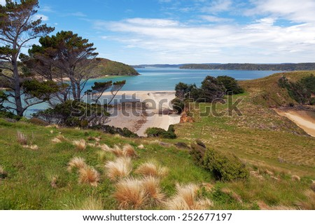 View of Native Island from Stewart Island, Wohlers monument lookout, New Zealand - stock photo