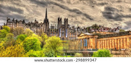 View of New College and the National Gallery of Scotland in Edinburgh - stock photo