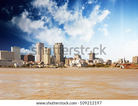 View of New Orleans from Mississippi River, U.S.A. - stock photo