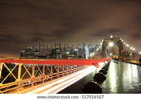 View of New York at night - stock photo