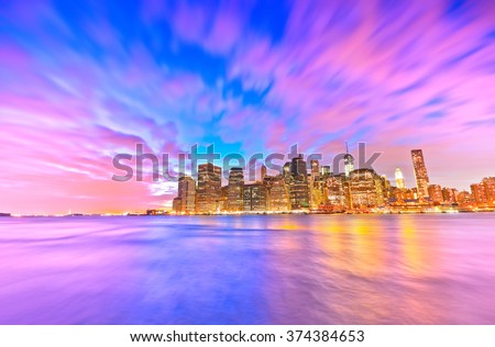 View of New York City at dusk - stock photo