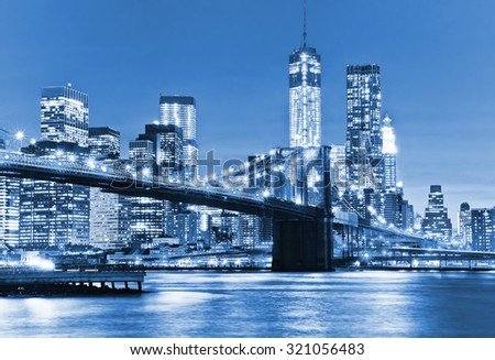 View of New York City at night - stock photo