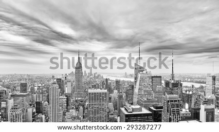 View of New York City in a cloudy day - stock photo