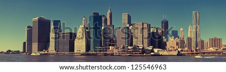 View of New York City Manhattan skyline - stock photo