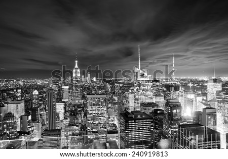 View of New York night with cloudy sky. - stock photo