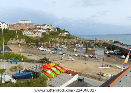 View of Newquay harbour North Cornwall England UK with boats at low tide - stock photo