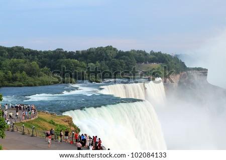 View of Niagara Falls at sunset - stock photo