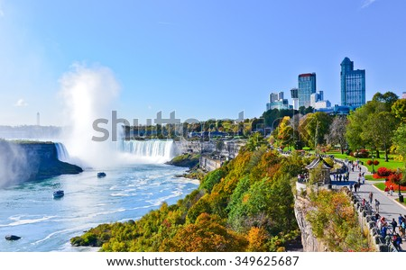 View of Niagara Falls in autumn - stock photo
