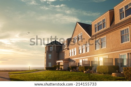 view of nice countryside   style house  during  summer sunset - stock photo