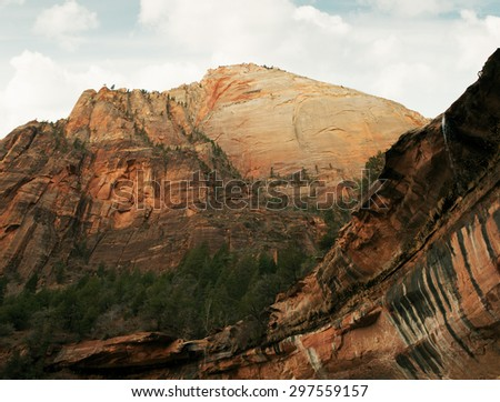 view of nice giant rock in Zion  national park   - stock photo