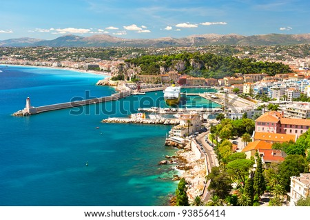 View of Nice, mediterranean resort, Cote d'Azur, France - stock photo