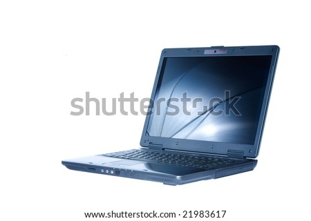 View of nice new laptop on white background - stock photo