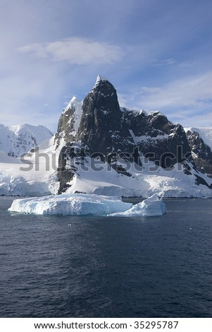 View of north entrance to Lemaire Channel, Antarctica - stock photo