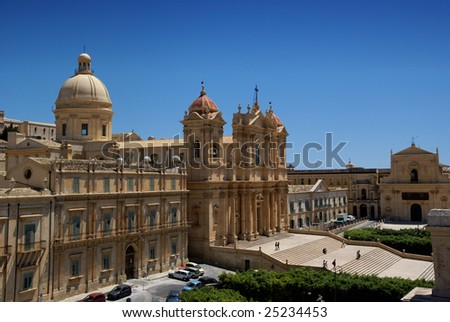 View of Noto baroque town (UNESCO World Heritage), in Sicily (Italy). - stock photo