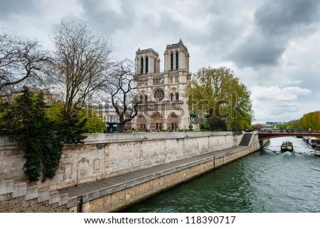 View of Notre Dame de Paris from Seine, Paris, France - stock photo